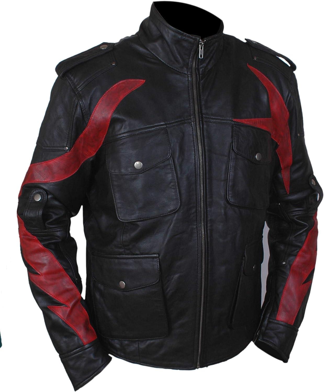 Flesh & Hide F&H Men's Black & Red Gaming Genuine Leather Jacket