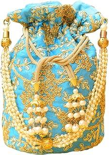 GiftPiper Embroidered Round Raw Silk Potli/Batua- Turquoise