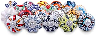 Lot of 20 Assorted Color Ceramic Drawers Cabinet Knobs Door Cupboard Pulls Indian Mix Knobs