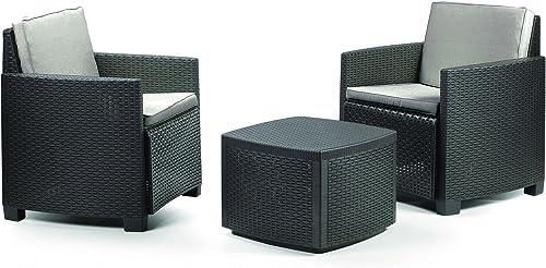 se descuenta Ipae-Progarden Trinacria Set Set Set con Cojines, Antracita, 30x 30x 30cm  venta mundialmente famosa en línea