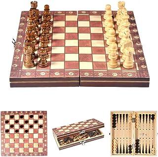 Jeu d'échecs en bois Jeu d'échecs en bois Jeu de pièces d'échecs magnétiques Panneau de jeu de tournoi pliant Jeu d'échecs...