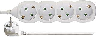 EMOS Steckdosenleiste 4-Fach, 3 m Kabel, weiß, Steckdosen 45° gedreht, 1,5 mm, Schuko Mehrfachsteckdose mit Kindersicherung, IP20 für Innenbereich