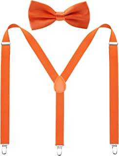 Men's Suspenders Bow Tie Sets - Adjustable Y Back with Strong Clips for Weddings and Formal Events