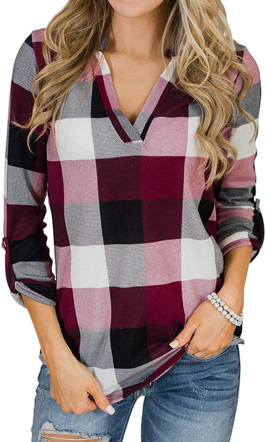 YOINS Women Long Sleeve V Neck Shirts Plaid Casual Check Classical Grid Pattern Tops Rolled Up Button Down Blouses