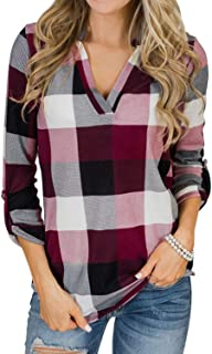 YOINS Women Long Sleeve V Neck Shirts Plaid Casual Tops Check Classical Blouses for Ladies