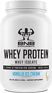 100% Whey Protein Isolate - Vanilla Ice Cream Flavor - 25g of Protein per Serving - 2lb Tub - Mixes Easily - Delicious Protein Recovery Shake - by BNB Supplements