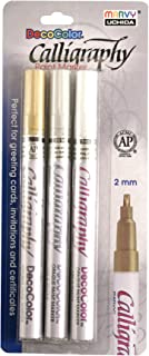 Uchida Of America 125-3A 3-Piece Calligraphy Paint Marker Set, Gold/Silver/White