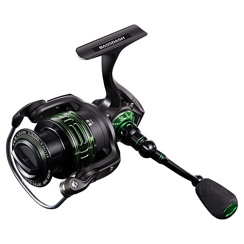 Bassdash Alien All Carbon Lightweight Spinning Fishing Reel, BlueMagic Reel with Aluminum Body & Carbon Rotor, Corrosion Resistant Bearings & Carbon Fiber Drag, in Sizes 1000, 2000, 3000, 4000, 5000