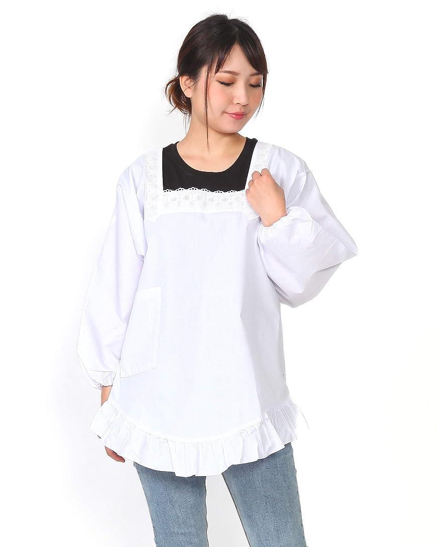 お茶乱すエクステント割烹着 和装-85cm/L(裾フリル付き) 白 日本製 M/L かっぽうぎ かっぽー エプロン