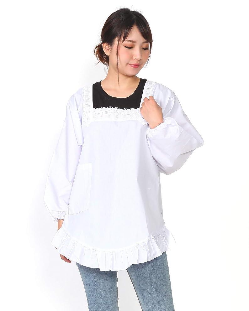 変換強制北西割烹着 和装-85cm/L(裾フリル付き) 白 日本製 M/L かっぽうぎ かっぽー エプロン