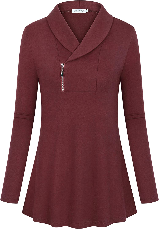 Ninedaily Women's Blouses Zipper Tunic Tops Long Sleeve Shawl Collar Sweatshirts