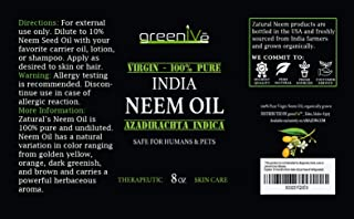 Greenive - Neem Oil - 100% Organically Grown Neem Oil - Cold Pressed Virgin Neem Oil - Exclusively on Amazon (8 Ounce)