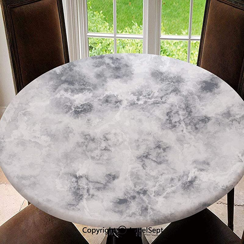 New Decorative 63 Elastic Edged Round Tablecloth Granite Surface Pattern With Stormy Details Natural Mineral Formation Print Decorative Washable Table Cloth Dinner Kitchen Home Decor Light Grey Dus