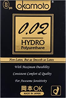 Okamoto 002 Hydro Condoms, 3 ct