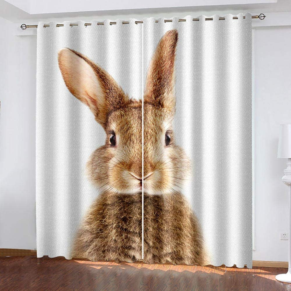 zpangg Black Out Window Cover Rabbit Blackout For Children Bedroom Eyelet Thermal Insulated Room Darkening Curtains For Nursery Living Room Bedroom 150/×166Cm