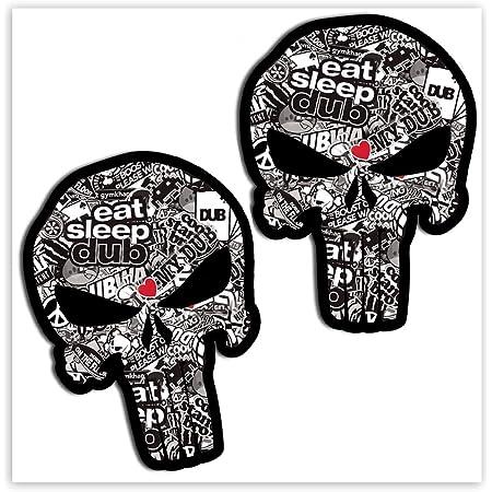 Skinoeu 2 Stück Vinyl Aufkleber Autoaufkleber Punisher Skull Schädel Totenkopf Bomb Knochen Horror Stickers Auto Moto Motorrad Fahrrad Helm Fenster Tuning B Auto