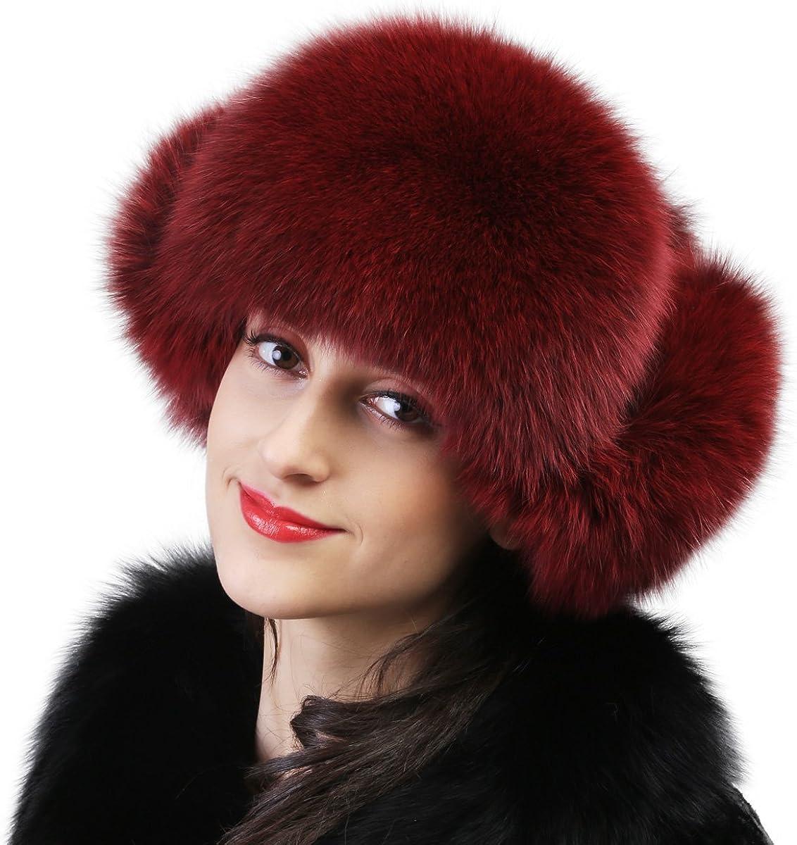 Mandy's Women's Autumn Winter Warm Below Zero Show Ball Real Fur Caps Lady's Fox Fur Hats