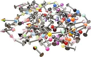 Oasis Plus 100PCS 16g 316L Surgical Steel Monroe Labret Ring Lip Chin Stud Tragus Earring Bar Body Piercing Kit