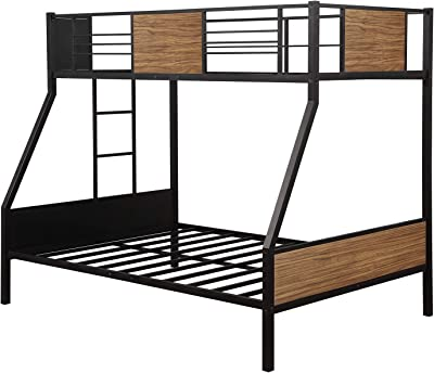 Amazon Com Twin Over Full Metal Bunk Bed With Safety Rail Weyoung Modern Style Twin Over Full Bunkbed Frame Steel Built In Ladder For Bedroom Kitchen Dining