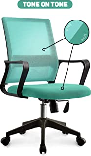 NEO CHAIR Office Chair Computer Desk Chair Gaming - Ergonomic Mid Back Cushion Lumbar Support with Wheels Comfortable Green Mesh Racing Seat Adjustable Swivel Rolling Home Executive