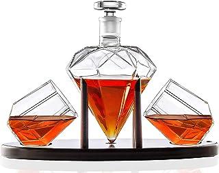 Whiskey Karaffe in Diamantform mit 2 Diamantgläsern & Mahagoni-Holzhalter - Edle handgefertigte Glaskaraffe für Likör, Scotch, Rum, Bourbon, Wodka, Tequila - Tolle Geschenkidee - 750ml