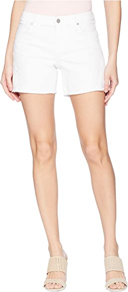 Vickie Shorts Fray Hem w/ Slit in Comfort Stretch Denim in Bright White