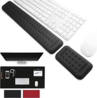 SAKLAM 3 IN 1 Memory Foam Keyboard & Mouse Wrist Rest Pad & Double PU Leather Desk Mat COMBO, Ergonomic Hand Rest Support,...