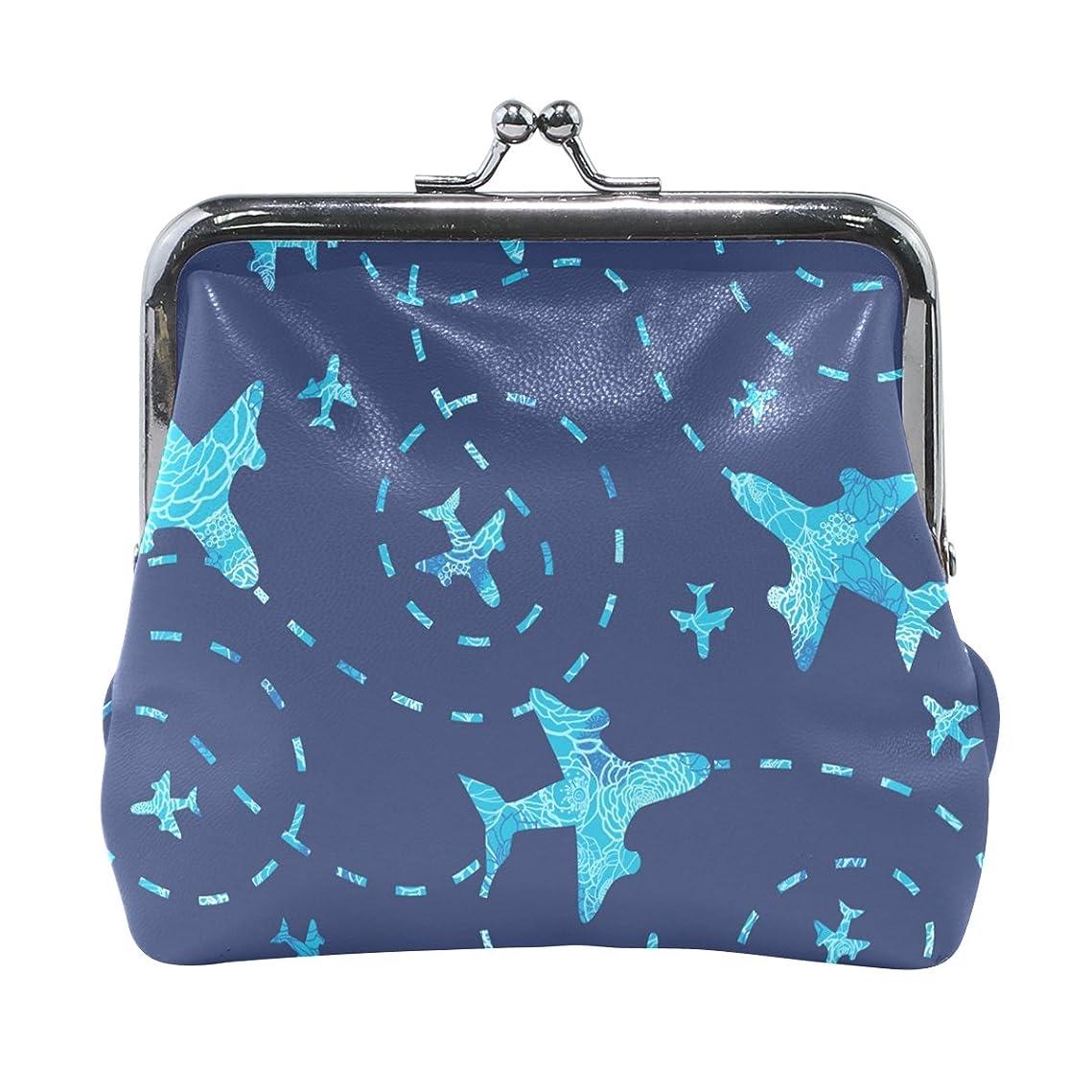 まっすぐ敏感な袋AOMOKI 財布 小銭入れ ガマ口 コインケース レディース メンズ レザー 飛行機 ブルー 現代風 ブラック 青い