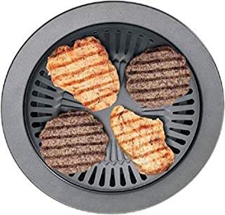 """12"""" Indoor Smokeless Stovetop Barbecue BBQ Nonstick Grill Pan Plate"""