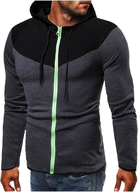 Men's Hoodies Zip Up Lightweight Mens Fall Winter Leisure Casual Long Sleeve Slim Fit Sports Outwear Hooded Sweatshirt