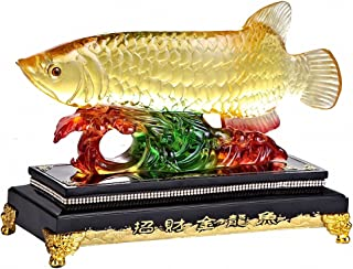Large Size Feng Shui Wealth Arowana (Golden Dragon Fish) Lucky Fish Statue Figurine, Office Living Room Decoration ,Best Gift for Business Opening,Feng Shui Decor ,9