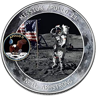 Womdee 2019 New Apollo 11 50th Anniversary Commemorative Coin with Precious Pictures, NASA Humans First Landing, Coin Jewelry Collection Art Gift Souvenir Novelty Coin Set of 2