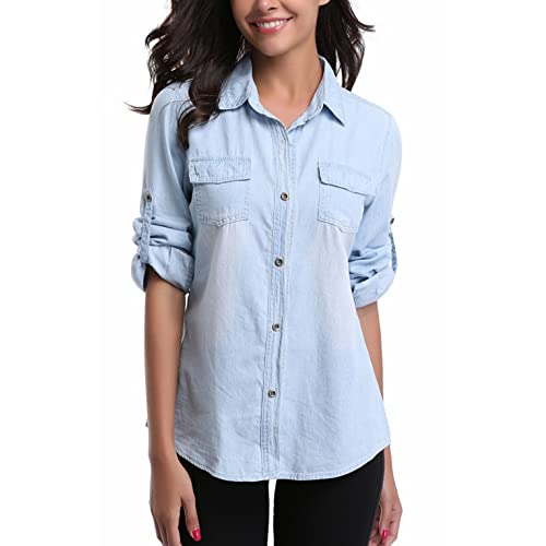 081408436e8 MISS MOLY Denim Shirt Women Washed Rolled Long Sleeve Point Collar Tops w 2  Chest Flap