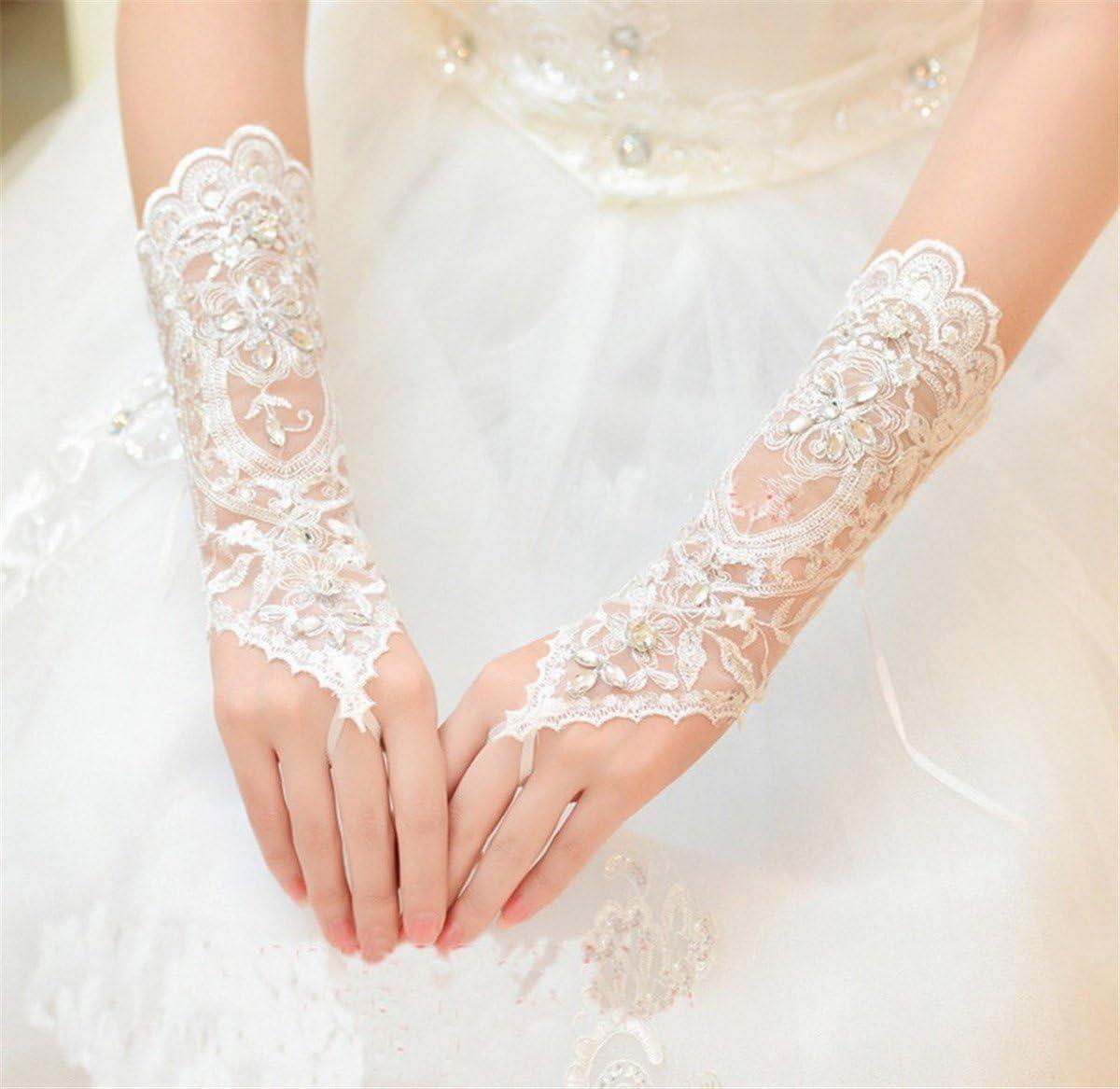 Lianshi 1 Paar Brauthandschuhe Fingerlose Spitze Blumen f/ür Hochzeit Braut Abschlussball Partei