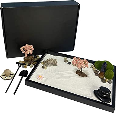 Oritlife Japanese Mini Meditation Zen Garden for Desk,Relax Desktop Zen Garden Kit with Square Sandbox, Balance Stones Mini Z
