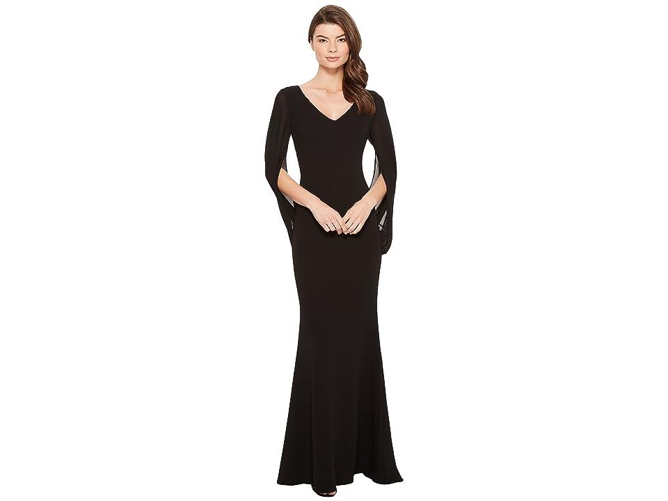 Badgley Mischka Cape Sleeve Gown w/ V-Neck (Black) Women