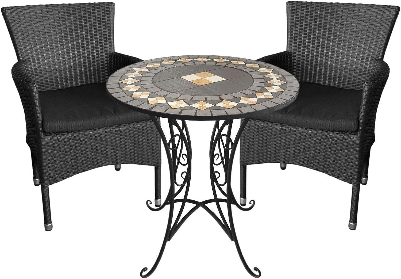 3tlg. Gartengarnitur Mosaiktisch, 70cm, Eisengestell, Mosaik aus Keramikplatten + 2X Gartensessel, Polyrattangeflecht schwarz, stapelbar, inkl. Sitzkissen