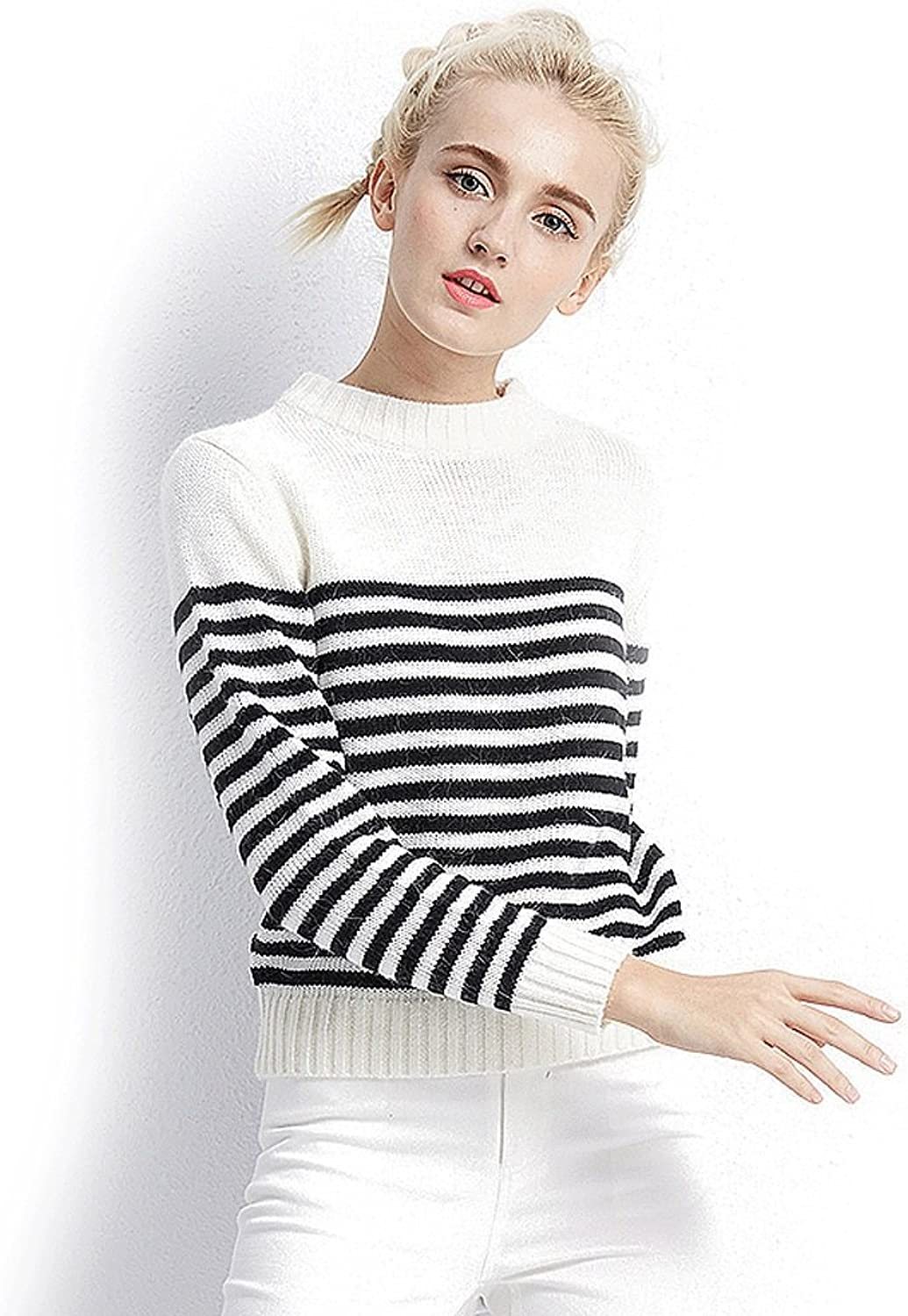 Winter sweater women's blouse black and white striped short clothes