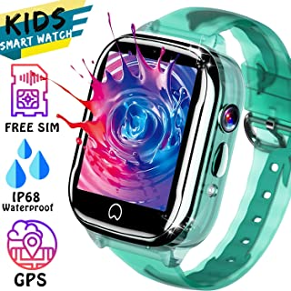 Smart Watch for Kid GPS Tracker - [Free SIM Card] Waterproof Kids Watch Phone Boy Girl 3-12 Years Old with Two-Way Call SOS Games Camera Compatible with Android iOS, Child Smartwatch for Birthday Gift