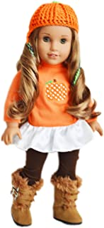 Brittany's Fall Pumpkin Outfit Compatible with American Girl Dolls- 18 Inch Doll Clothes