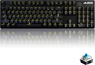 Ajazz AK50 Mechanical Keyboard With Blue Switches, 104 Standard Keys Classic Layout, Anti-Ghosting Professional Gaming Keyboard, Yellow LED Backlit, Black