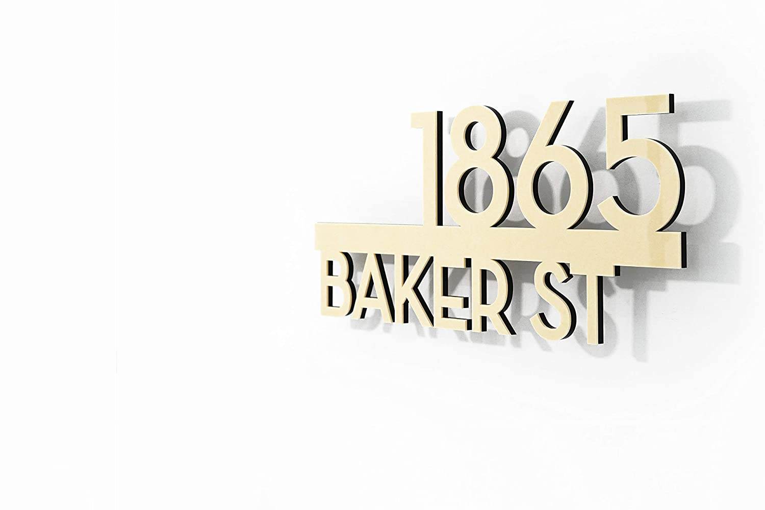 Modern House Numbers Popular brand - Street with Beige Address Black New sales Acrylic