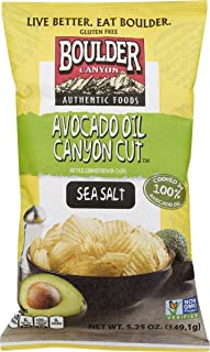 Boulder Canyon Authentic Foods Avocado Oil Kettle Cooked Potato Chips- 5.25 oz. Bags (Sea Salt, 3 Bags)
