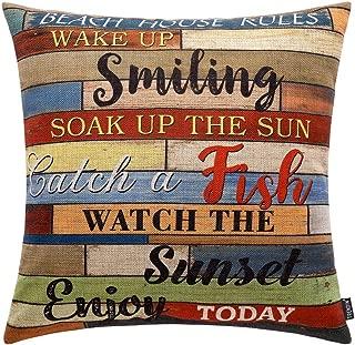 TRENDIN Throw Pillow Case Beach House Rules Cotton Linen Square Cushion Cover Standard Pillowcase for Men Women Kids Home 18 x 18 inch PL251TR