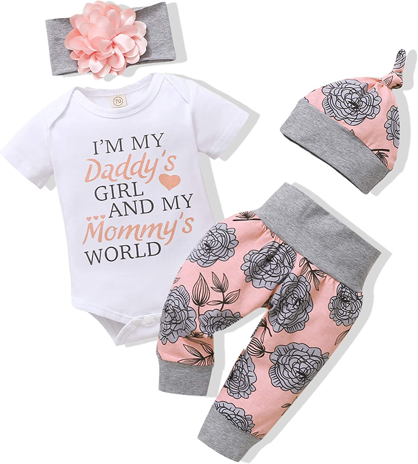 Renotemy Newborn Infant Baby Girl Clothes Summer Outfits Infant Romper Pants Cute Toddler Baby Girl Clothes Set