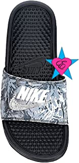 daebd9aabc84 Sale Bedazzled Glitter Gray Tropical Nike Benassi JDI Print Sport Slides