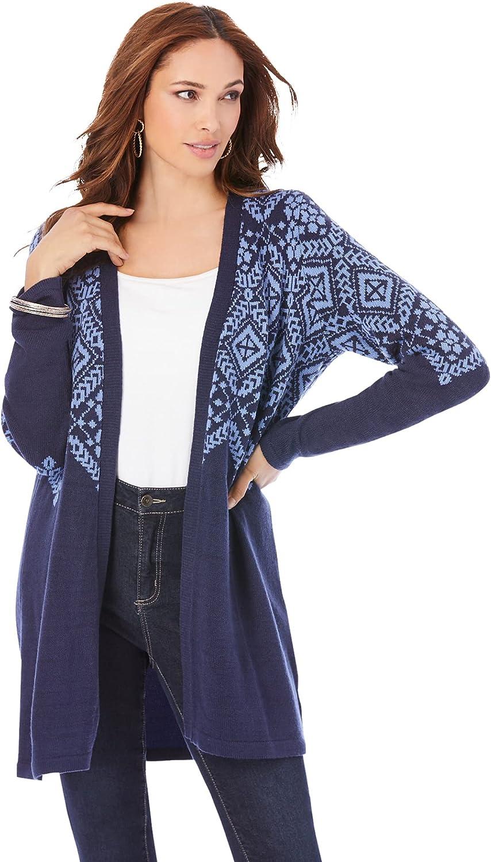 Roamans Women's Plus Size Fair Isle Cardigan Sweater