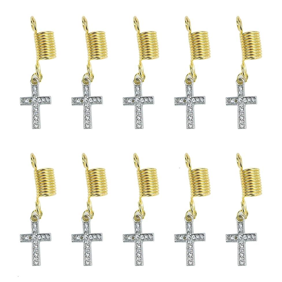 Monrocco 10Pcs Rhinestone Cross Hair Coil Dreadlocks Hair Braid Rings Viking Dreadlocks Dreadlocks Beads Braiding Hair Decorations