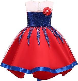 JKTOWN 子供ドレス キッズドレス プリンセスワンピース ガールズドレス 女の子 女児 花飾り リボン飾り スパンコール パーティー 誕生日 入学式 演出 プレゼント 可愛い フォマール 2-9歳