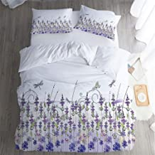 Breathable Bedding Home Collection,King Quilt Sheet 3 Piece Set,Floral Lavender Field Meadow Pattern Pillowcase,Bed Sheet,Rural Countryside Plants Flowers Design Purple Violet Lilac.